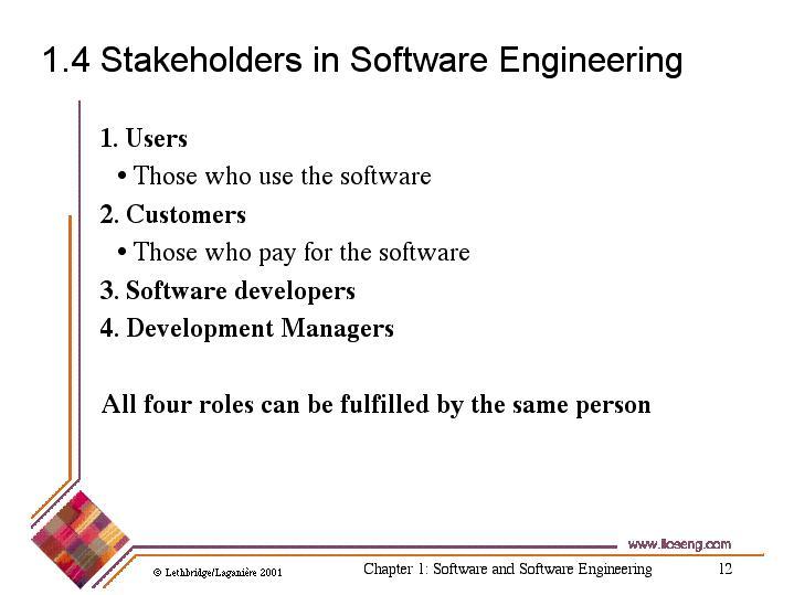 1 4 Stakeholders in Software Engineering