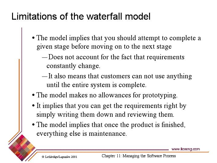 Limitations of the waterfall model for Waterfall model design meaning